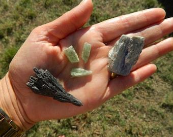 Kyanite Crystal Pack, Blue Kyanite, Green Kyanite, Black Kyanite