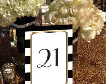 Striped Table Numbers, Black and Gold Table Numbers, Art Deco Table Numbers, Black and White Striped Table Numbers 1 - 50 Instant Download