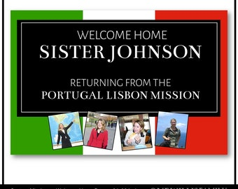 Custom digital LDS Missionary Welcome Home Banner: with pictures mission and name, 24x36 Digital File