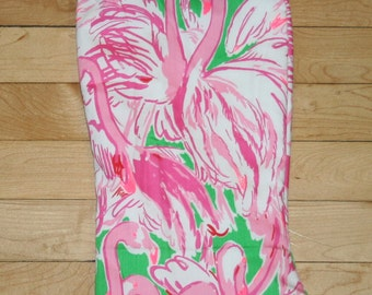 Ruffle Christmas stocking made with Lilly Pulitzer fabric