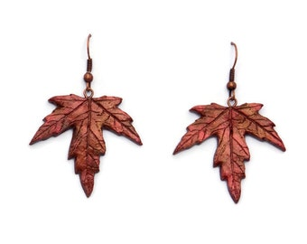 Fall Leaf Earrings - Fall Jewelry - Fall Gift - Autumn Jewelry - Autumn Leaves - Fall Leaves - Maple Leaf Earrings -Thanksgiving Jewelry
