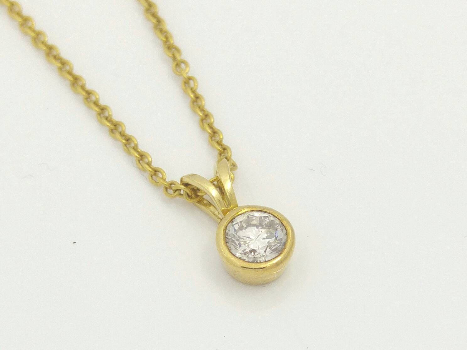 Single diamond necklace 14k gold necklace diamond pendant zoom aloadofball Image collections