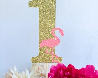 One cake topper | First birthday | First birthday cake topper | First birthday party decor | Number cake topper | Flamingo cake topper