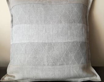 Natural Gray Linen Throw Pillow - Striped Linen - Pure Linen Cushion Cover - Linen Decorative Pillow - Farmhouse Cushion -Organic Pillowcase