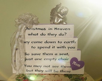 Christmas in Heaven What do they Do...Handcrafted sign, May be personalized