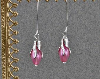 Handmade Vintage Czech Glass Swirled Pearls In Silver Plated Brass Flower Caps Sterling Hooks Flower  Earrings