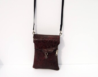 Red Floral Genuine Leather, Embossed,  Extra Large Cell Phone Purse with Flap