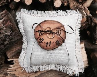 Rustic Ring Bearer, Wedding Ring Bearer Pillow, Initals Ring Bearer, Burlap Ring Bearer