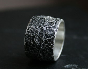 Lacey no 28 - wide sterling silver lace ring - made to order in your size