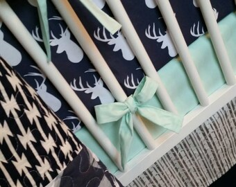 Crib Bedding Set | Nursery Bedding Custom Deer Woodland Nursery Aztec Tribal Nursery Navy Gray Bumper Sheet Skirt Quilt
