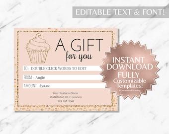 Gold Glitter|Blush|Pink|Cupcake Gift Certificate|Bakery Gift Certificate|Restaurant Gift Certificate|Printable Gift Certificate|INSTANT