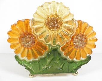 Vintage Lucite Flowers Napkin Letter Holder - Lucite Daisies Brass Napkin Holder