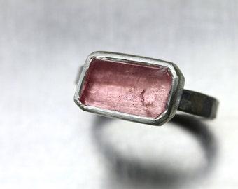 Rustic Freeform Faceted Rough Pale Pink Tourmaline Ring Forged Silver Rectangular Primitive Geometric Asymmetrical Raw Gemstone - Blush Geo