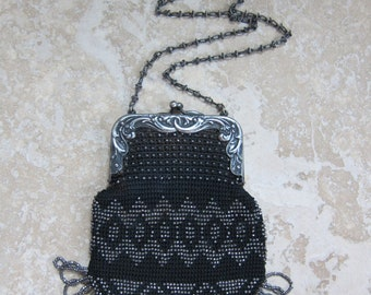 1920s Bag / 20s Beaded Bag / Flapper Evening Purse / Microbeaded Mini Bag / Beaded Bag in Black and Silver / Jazz Age
