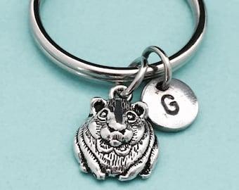 Hamster keychain, hamster charm, animal keychain, personalized keychain, initial keychain, customized keychain, monogram