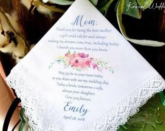 Mother of the Bride Handkerchief-Wedding Hankerchief-PRINTED-CUSTOMIZED-Wedding Hankies-Mother of the Bride Gift