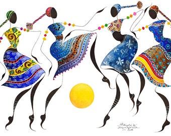 "BIKUTSI II African Dancers 12""x18""(30,5cmX 45,5cm)Giclée Print, African Art, African Woman Art, African Fashion Art, African inspired Gift"