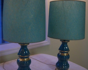 Turquoise And Metallic Gold Lamps/1950s Lamps/Turquoise U0026 Gold Fiberglass  Shades/Retro