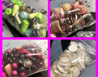 Bags of Beads, Choose your color, Jewelry beads, Crafting beads, Mixed lot of beads, Bags are stuffed full