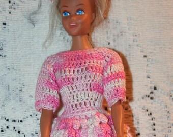 Barbie   MidgeDoll And Light Pink Crochet Dress&Hat, white bloomers