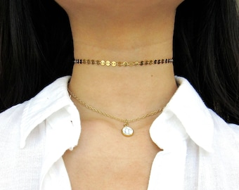 GOLD COIN CHOKER necklace - Bridesmaid Gift - Bridal Necklace - 4mm Gold Disc Necklace- Coin Tattoo Choker - Gold Chain Choker- Gold Choker