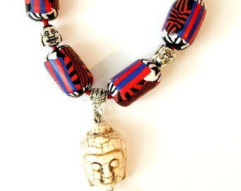 Leather Polymer Clay necklace Chain,Bohemian Buddha Necklace,Beaded Necklace, Boho Tassel Necklace