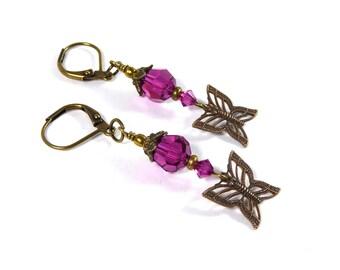 Antique Brass Butterfly Earrings, Swarovski Crystal Fuchsia Butterfly Earrings, Butterfly Dangle Earrings Butterfly Jewelry
