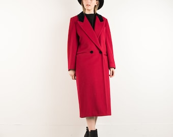VINTAGE RED OVERSIZED Wool Coat / S M / hipster jacket coat womens outerwear overcoat coat red