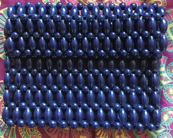 Vintage 1960s Navy Beaded Clutch Bag