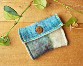Hand-dyed Wet Felted Handbag/Small Felted Wool Bag/Felted Change Purse/Blue/Purple/Pink/Green Felted Pouch/Small Felted Bag with Wood Button