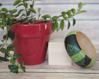 Handpainted Wooden Bangle // Wooden Jewelry // Wooden Bracelet