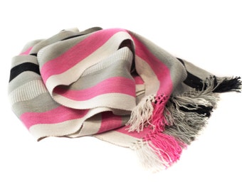 Organic Bamboo Scarf Pink,Black, White Striped