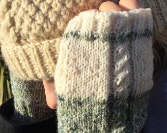 Women's hand knitted hand warmers in green and cream