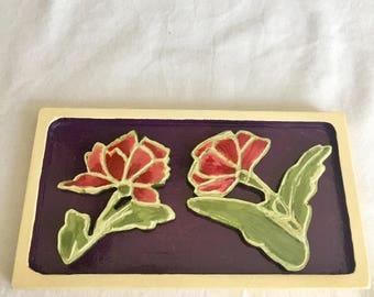 wooden flower plaque