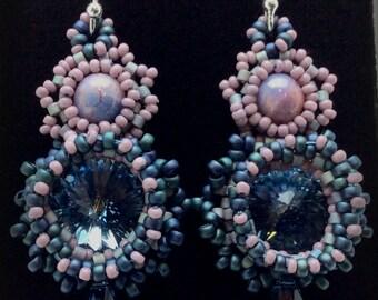 Crystal Bezel Earrings with Briolette