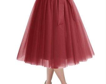 25%Off Knee Length Tulle Skirt Tutu Skirt Evening Party Gown Prom Formal Skirt