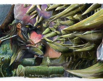 "Pirates of the Caribbean - Jack vs The Kraken  5""x11"" Poster Print"