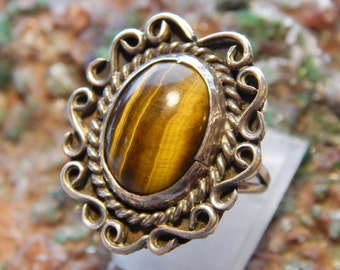 Native American Sterling Tiger Eye Ring