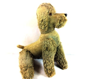 1950s Sawdust Stuffed Poodle - Old Stuffed Animal - Antique Poodle - 21 inches