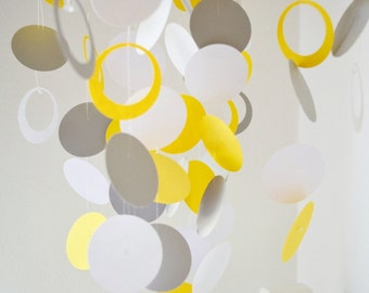 Gray, Yellow and White Baby Mobile, OR Custom make it to fit your nursery decor