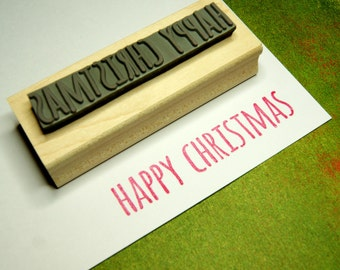 Happy Christmas Rubber Stamp - Skinny Font Sentiment Text Large Rubber Stamp - Scrapbooking - Festive Stamper - Christmas Card Making