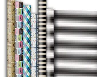 Jillson & Roberts Premium Gift Wrap Roll Assortment, Masculine Designs (6 Rolls)