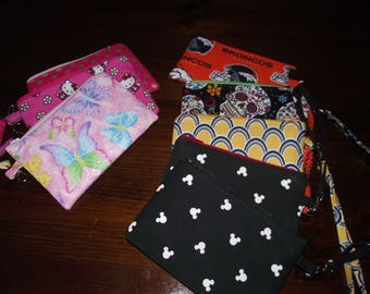 Essential Wristlet - Your choice! Pink, Hello Kitty, Broncos, Butterflies, Mickey, Sugar Skulls, Blue and Yellow wristlets