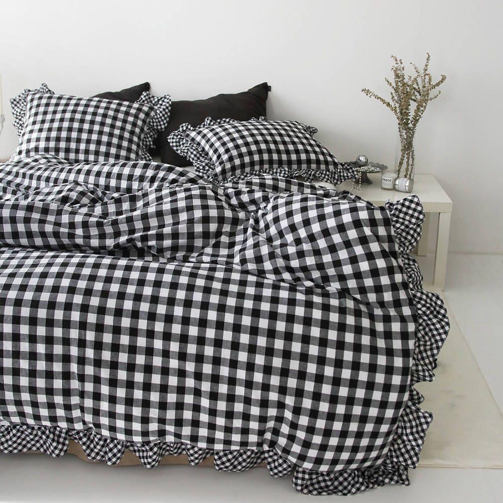 teen set duvet check dorm tan plaid girl bedding gingham farmhouse cover designer b