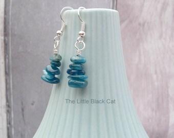 Blue Gemstone Earrings, Blue Apatite Earrings, Gemstone Earrings, Dangly Earrings, Gemstone Stack Earrings, Semi Precious, For Her UK SHOP