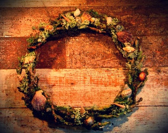 Faery wreath, seashell twig wreath, altar wreath, natural decor wreath