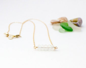 Moon Me Necklace, Handmade, Gemstone, Dainty, Layering, Sterling Silver, 14k Gold Filled, Simply Me Jewelry Moon Me Necklace, SMJNK412