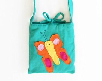 Girl's Purse, Children's Purse, Applique Purse, Aqua Purse, Butterfly Purse, Flower Purse, Girl's Accessories, Girl's Bag, Kid's Accessories