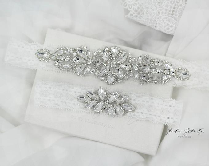 Dainty Wedding Garter, NO SLIP Lace Wedding Garter Set, bridal garter set D20-D21