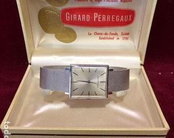 18k gold vintage Girard Perregaux wristwatch perfect + box